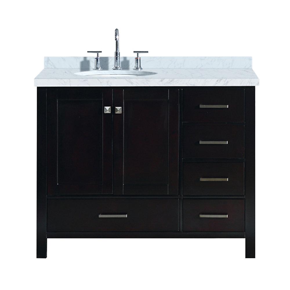 Cambridge 43 inch Left Offset Single Oval Sink Vanity In Espresso