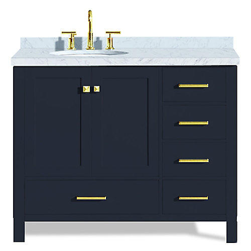 Cambridge 43 inch Left Offset Single Oval Sink Vanity In Midnight Blue