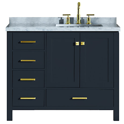 Cambridge 43 inch Right Offset Single Rectangle Sink Vanity In Midnight Blue