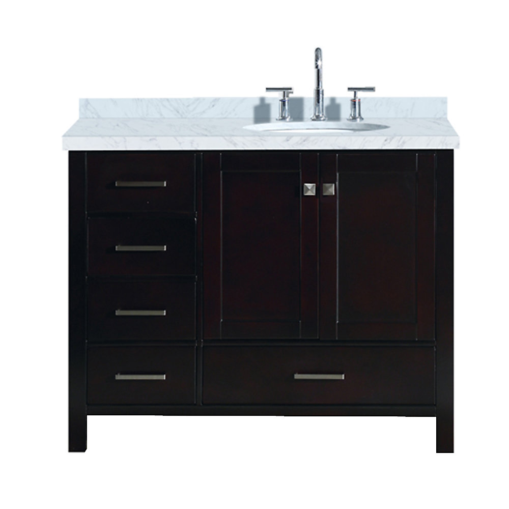 Cambridge 43 inch Right Offset Single Oval Sink Vanity In Espresso