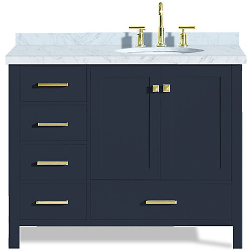 Cambridge 43 inch Right Offset Single Oval Sink Vanity In Midnight Blue