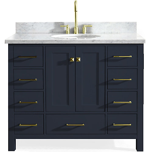 Cambridge 43 inch Single Oval Sink Vanity In Midnight Blue