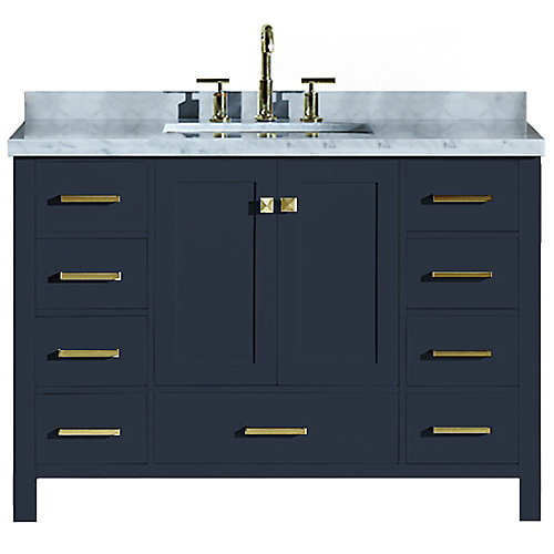 Cambridge 49 inch Single Rectangle Sink Vanity In Midnight Blue