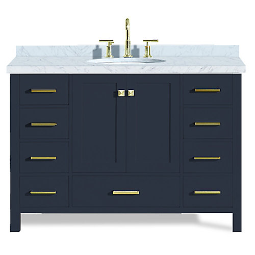 Cambridge 49 inch Single Oval Sink Vanity In Midnight Blue