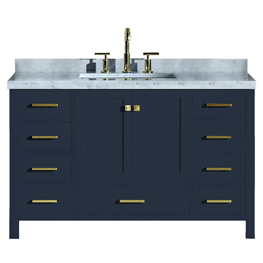 Cambridge 55 inch Single Rectangle Sink Vanity In Midnight Blue
