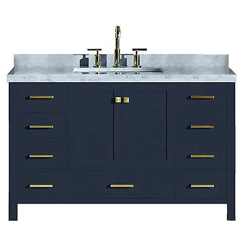 Cambridge 55 inch Single Rectangle Sink Vanity In Midnight Blue