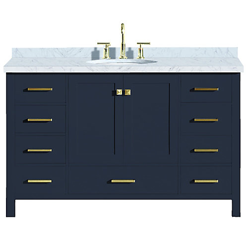 Cambridge 55 inch Single Oval Sink Vanity In Midnight Blue