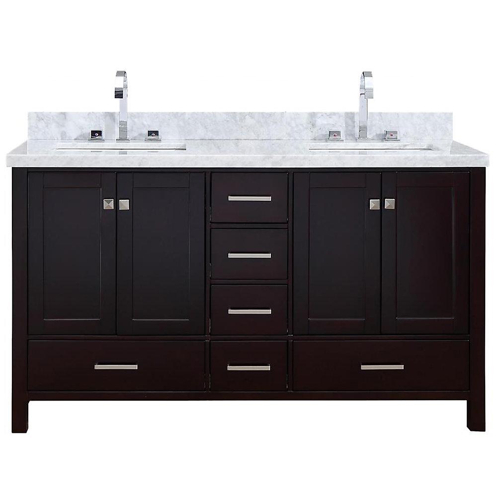 Cambridge 61 inch Double Rectangle Sink Vanity In Espresso