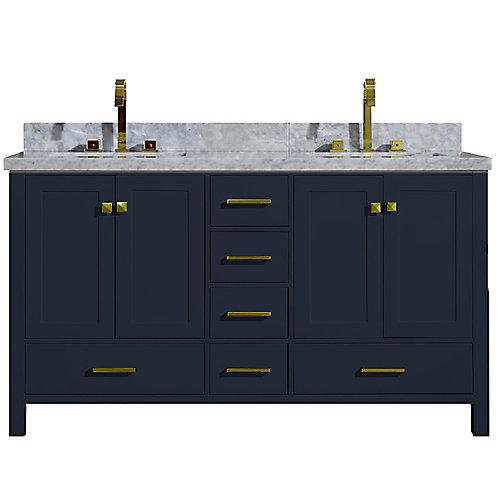 Cambridge 61 inch Double Rectangle Sink Vanity In Midnight Blue