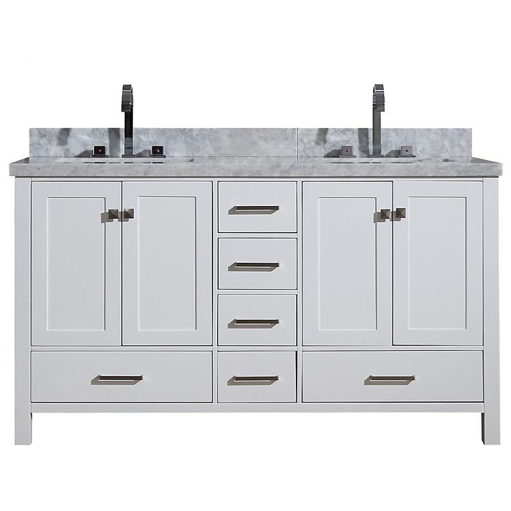 Cambridge 61 inch Double Rectangle Sink Vanity In White