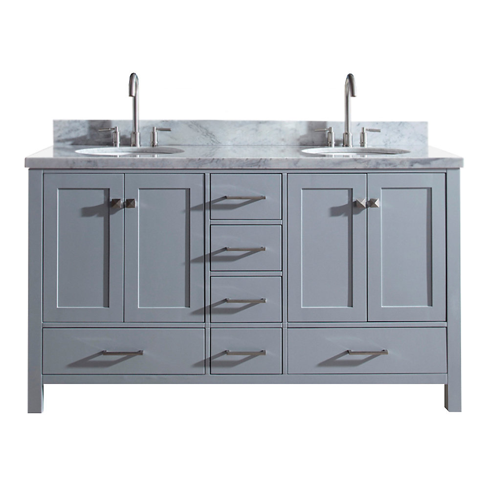 Cambridge 61 inch Double Oval Sink Vanity In Grey