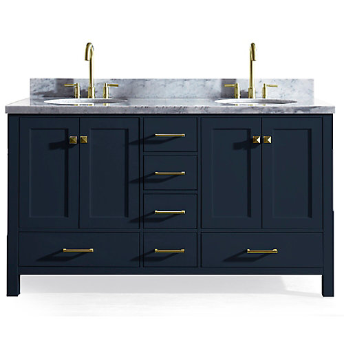 Cambridge 61 inch Double Oval Sink Vanity In Midnight Blue