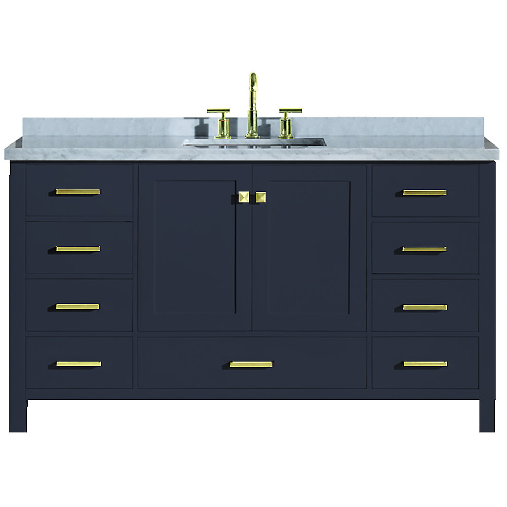 Cambridge 61 inch Single Rectangle Sink Vanity In Midnight Blue