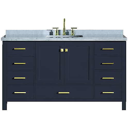 Cambridge 61 inch Single Rectangle Sink Vanity In Midnight Blue