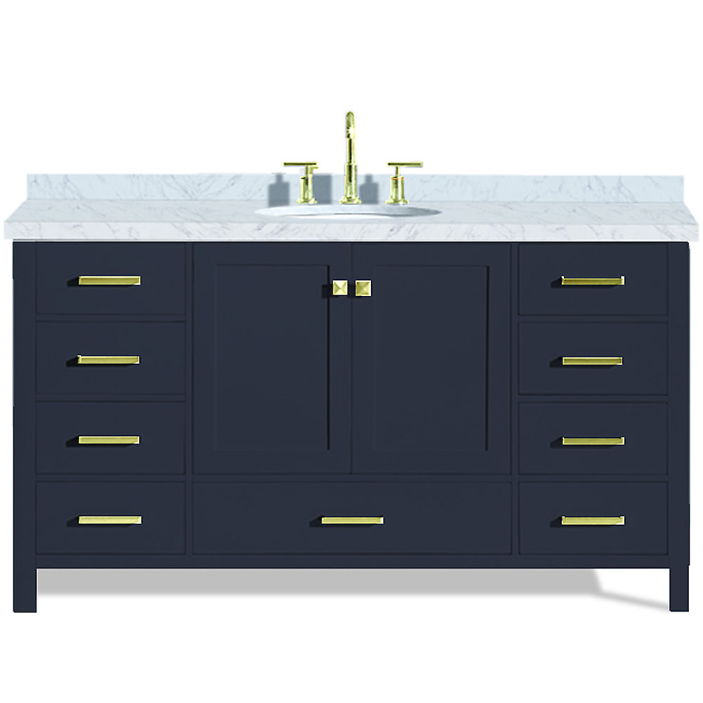 Ensemble Meuble-Lavabo Cambridge 155 Cm De Couleur Bleu Minuit Avec Evier Ovale Simple