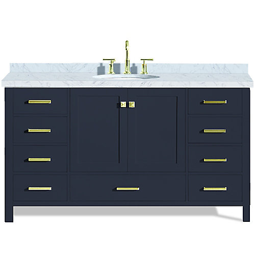 Cambridge 61 inch Single Oval Sink Vanity In Midnight Blue