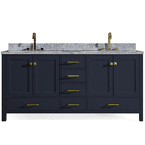 Cambridge 73 inch Double Rectangle Sink Vanity In Midnight Blue