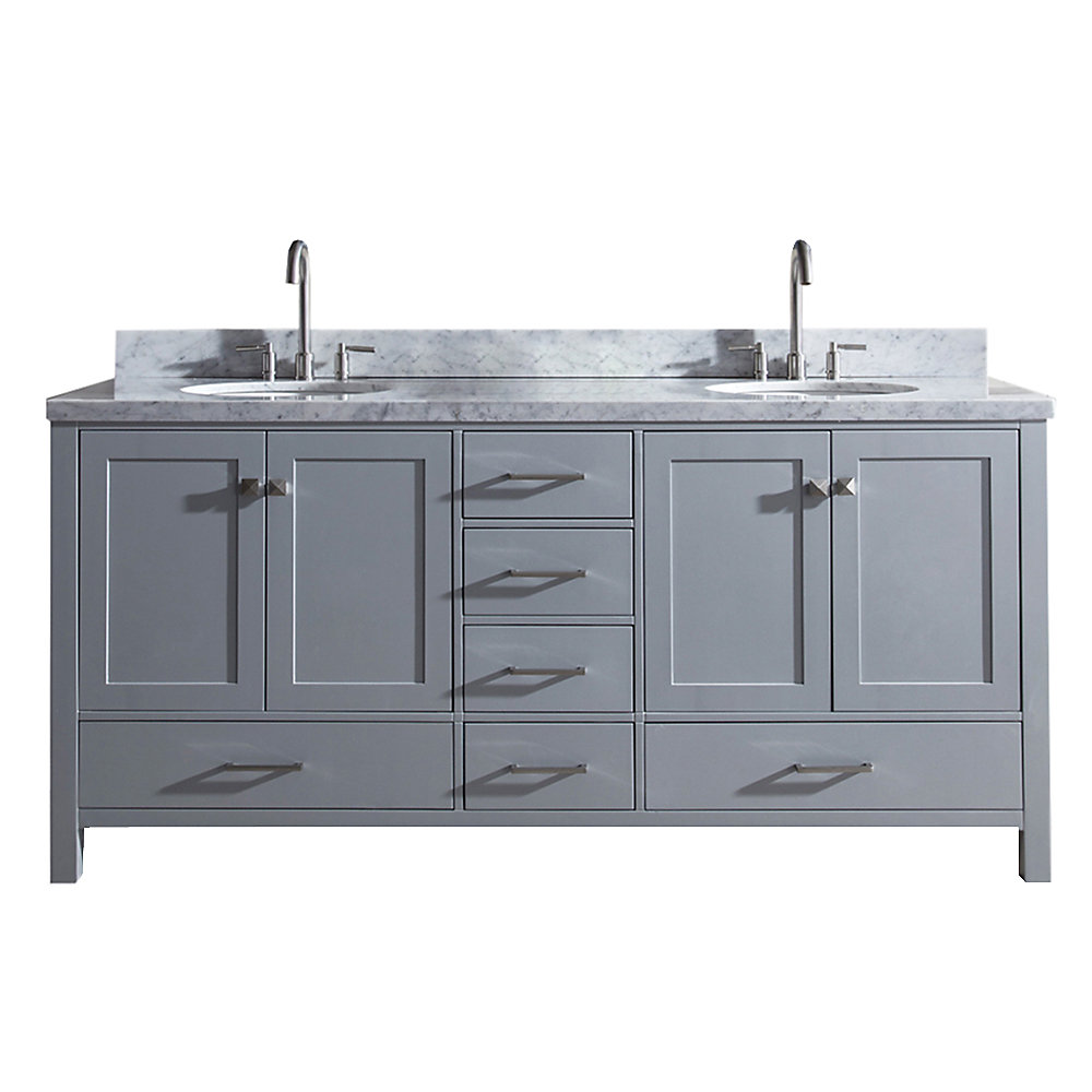Cambridge 73 inch Double Oval Sink Vanity In Grey