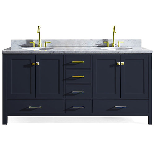 Cambridge 73 inch Double Oval Sink Vanity In Midnight Blue