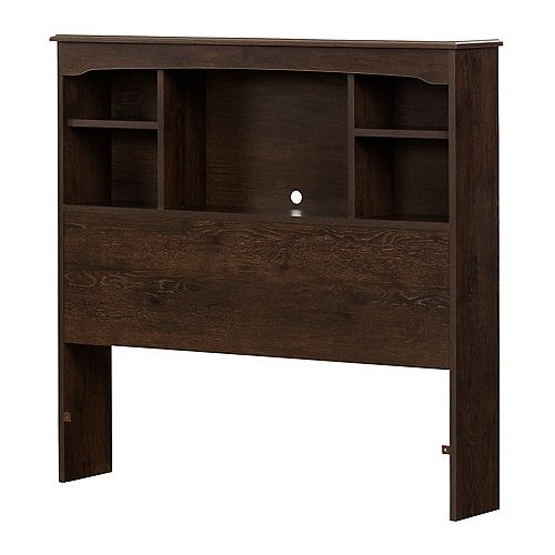 South Shore Aviron Bookcase Headboard, Brown Oak