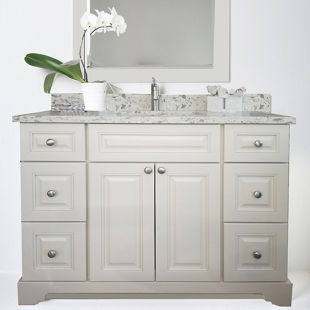 Bold Damian 54 inch Antique White Vanity with Quartz Top in Milky Way