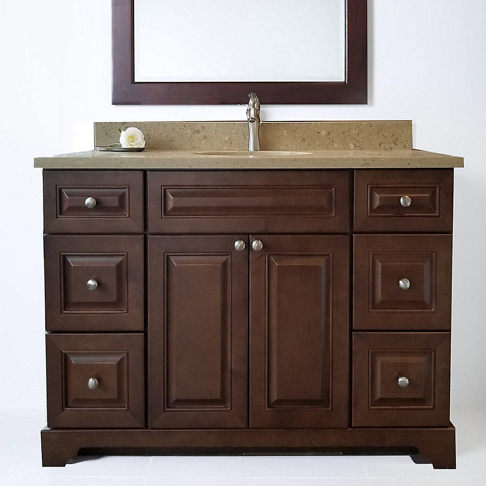 Bold Damian 42 inch Royalwood Vanity with Quartz Top in Royal Brown