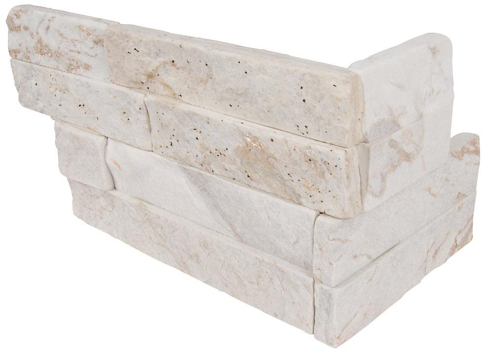 Carr. quartzite naturel p/murs, blanc royal, à face éclatée, pann. de coin de 6 x 18 po, 4,5 pi2/bte