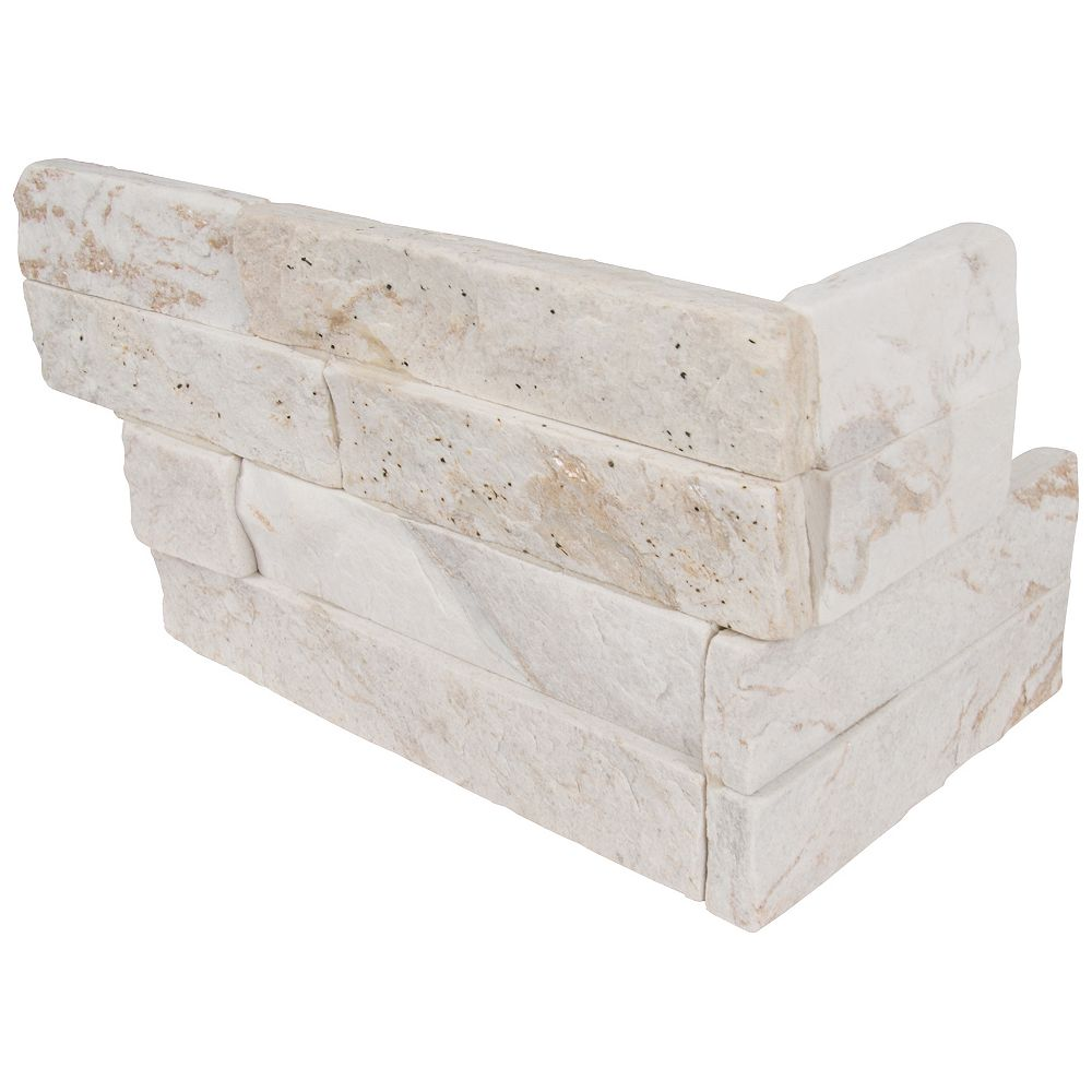MSI Stone ULC Royal White Splitface Ledger Corner 6-inch x 18-inch Natural Quartzite Wall Tile (4.5 sq. ft. / case)