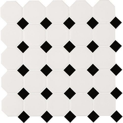 MSI Stone ULC White and Black Octagon 11.61-inch x 11.61-inch x 6 mm Porcelain Mesh-Mounted Mosaic Tile (18.73 sq.ft./case)
