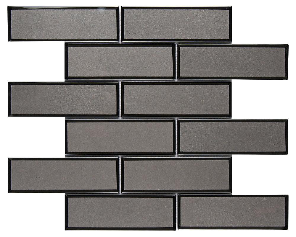 Metallic Gray Bevel Subway 11.73-inch x 11.73-inch x 8 mm Glass Mesh-Mounted Mosaic Tile (9.6 sq. ft. / case)