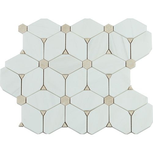 MSI Stone ULC Cecily 10.83-inch x 12.6-inch x 10 mm Polished Marble Mesh-Mounted Mosaic Tile (9.5 sq. ft. / case)