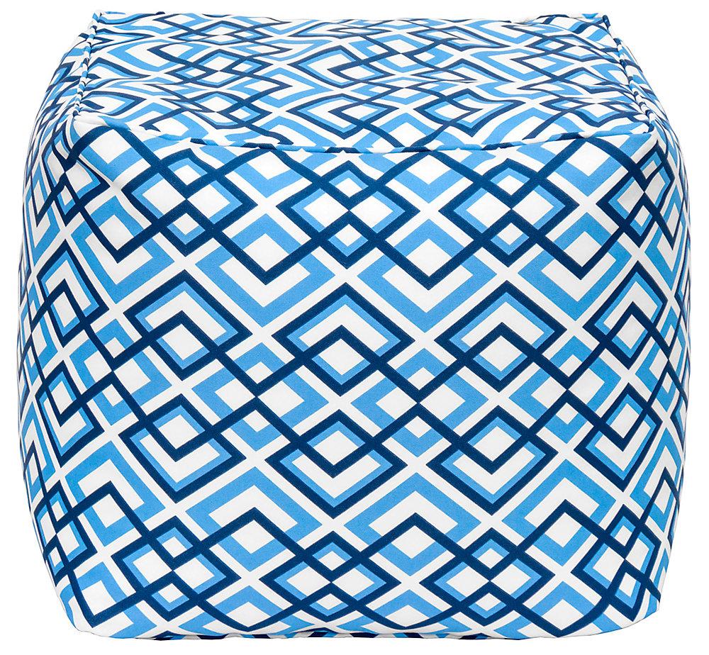 Square Pouff Geo Blue