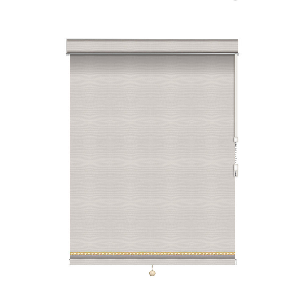 Blackout Roller Shade with Deco Trim - Chain Operated with Valance - 62.75-inch X 36-inch