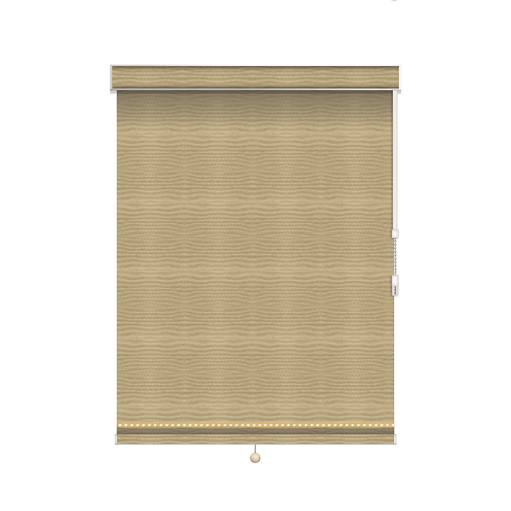 Blackout Roller Shade with Deco Trim - Chain Operated with Valance - 52.25-inch X 60-inch