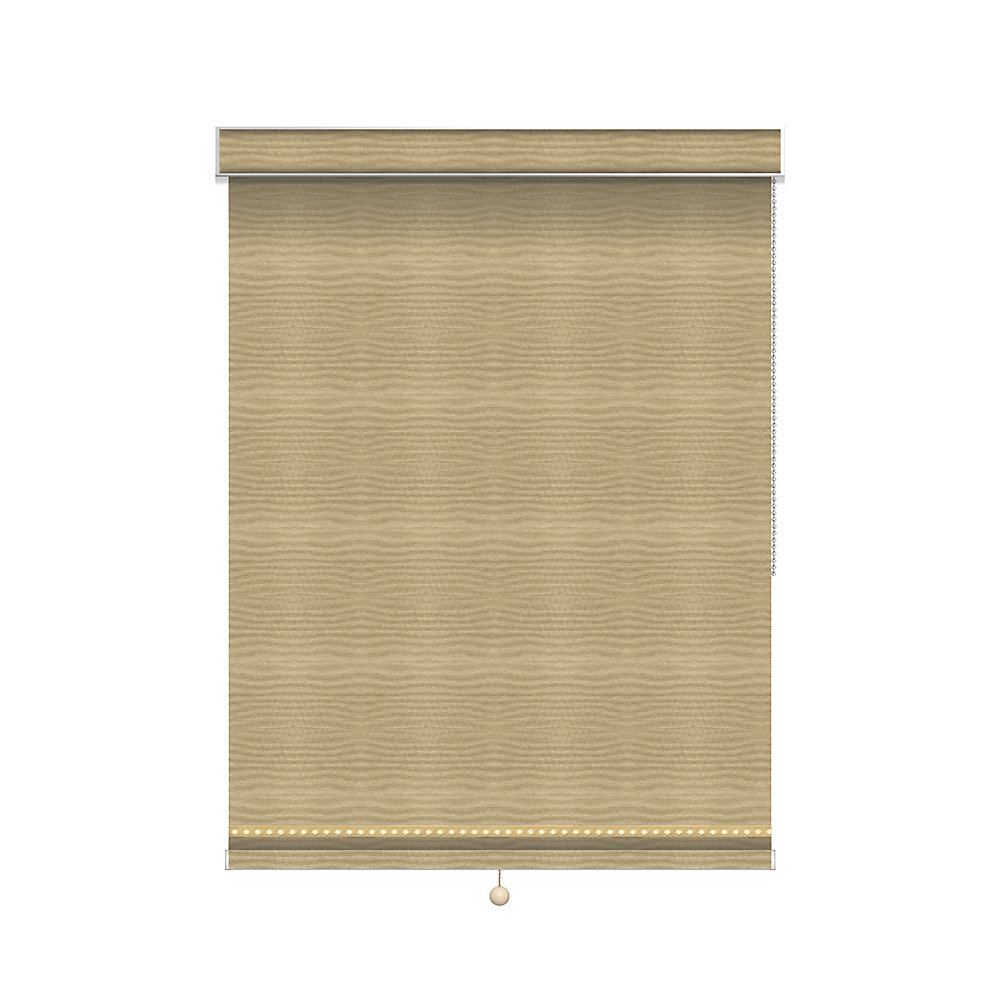 Blackout Roller Shade with Deco Trim - Chain Operated with Valance - 75.25-inch X 60-inch