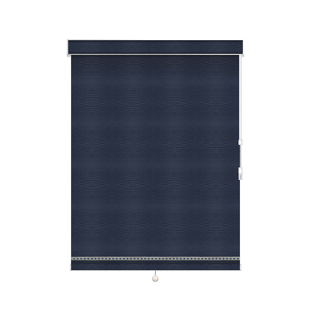 Blackout Roller Shade with Deco Trim - Chain Operated with Valance - 53.5-inch X 36-inch