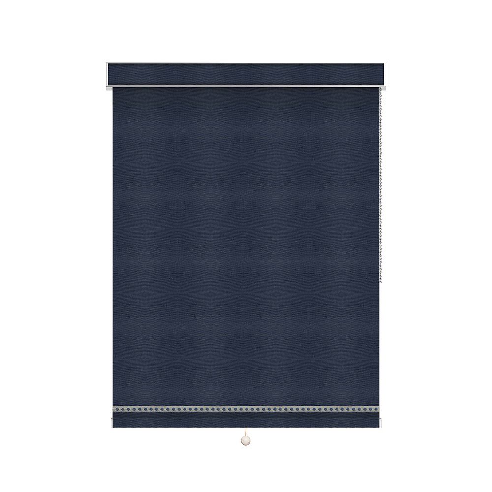 Blackout Roller Shade with Deco Trim - Chain Operated with Valance - 51.25-inch X 60-inch