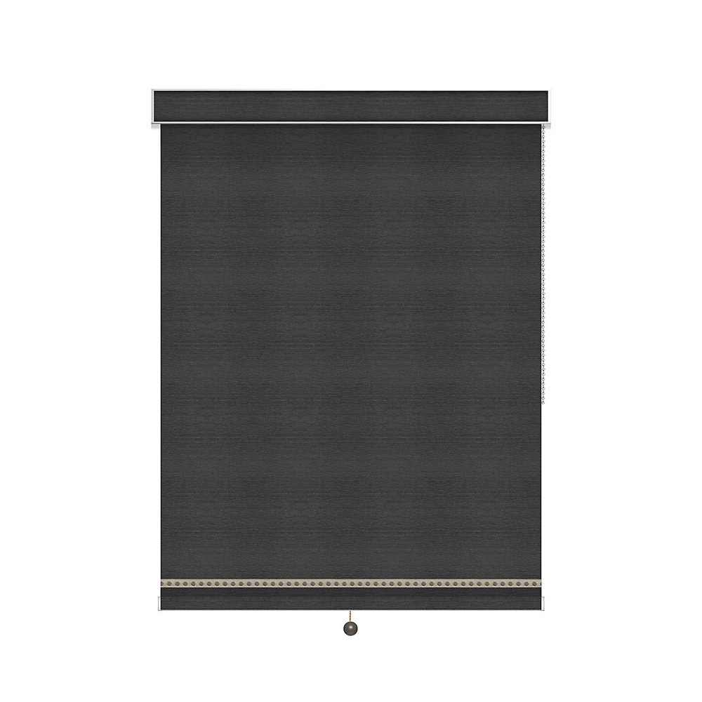 Blackout Roller Shade with Deco Trim - Chain Operated with Valance - 75.75-inch X 60-inch