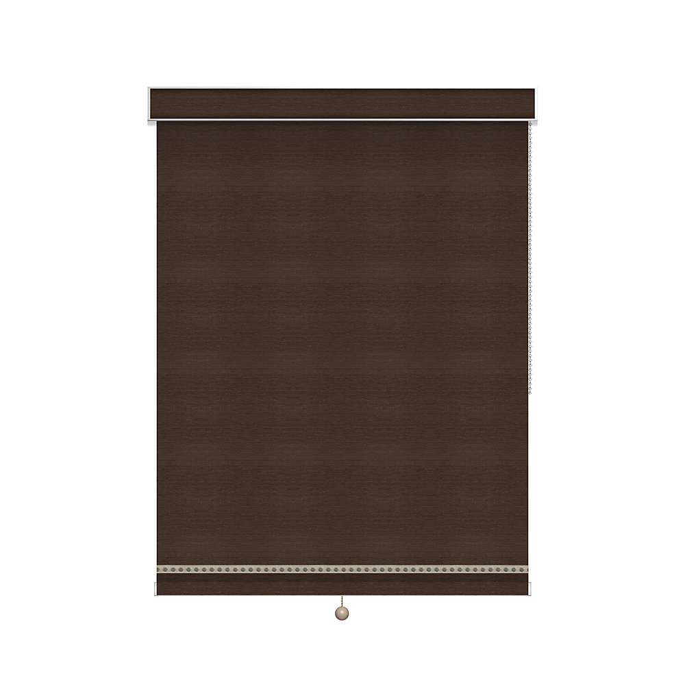 Blackout Roller Shade with Deco Trim - Chain Operated with Valance - 46-inch X 84-inch