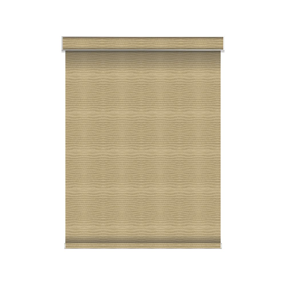 Sun Glow Blackout Roller Shade - Chainless with Valance - 55.25-inch X 84-inch in Champagne