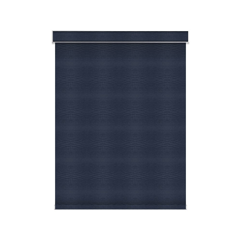 Sun Glow Blackout Roller Shade - Chainless with Valance - 39-inch X 36-inch in Navy