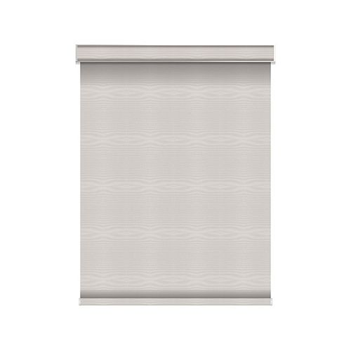 Sun Glow Blackout Roller Shade - Motorized with Valance - 53.75-inch X 60-inch in Ice
