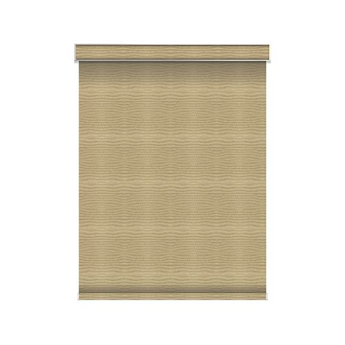 Sun Glow Blackout Roller Shade - Motorized with Valance - 34.25-inch X 60-inch in Champagne