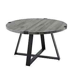 Table basse ronde rustique - Gris ardoise