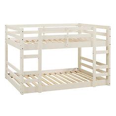 Lit superposé bas en bois - Blanc