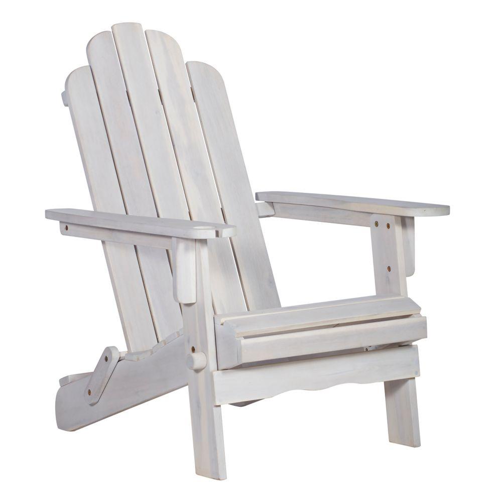 Coussin Pour Fauteuil Adirondack chaise adirondack en bois pour patio - blanc délavé