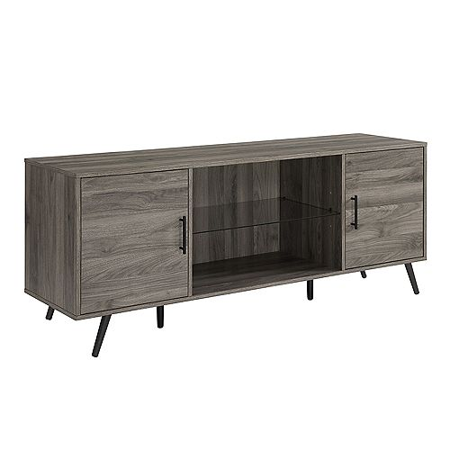Walker Edison Mid Century Modern TV Stand for TV's up to 66 inch - Slate Grey