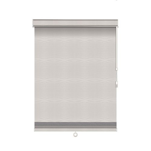 Sun Glow Blackout Roller Shade with Herringbone Trim - Chain Operated with Valance - 56-inch X 84-inch in Ice