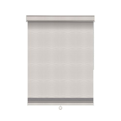 Sun Glow Blackout Roller Shade with Herringbone Trim - Chain Operated with Valance - 76.5-inch X 84-inch in Ice