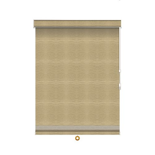 Sun Glow Blackout Roller Shade with Herringbone Trim - Chain Operated with Valance - 30-inch X 84-inch in Champagne